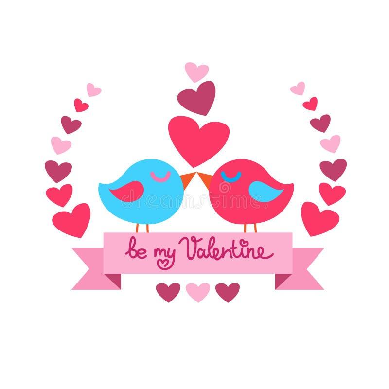 Красный цвет дня валентинки формы сердца поцелуя 2 птиц бесплатная иллюстрация