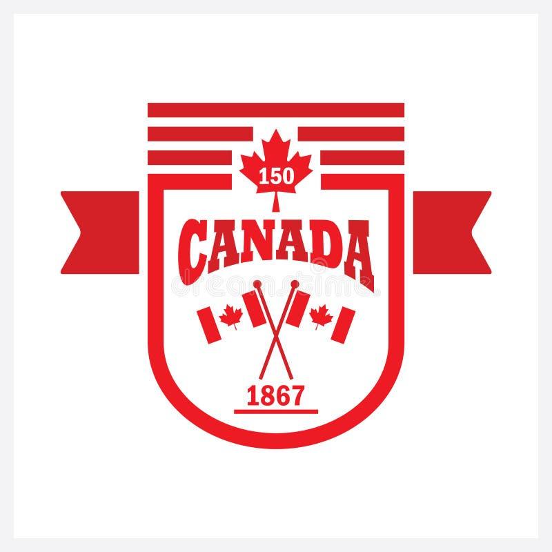 Красный цвет округлил знамя Канаду 150 и сигнализирует значок эмблемы иллюстрация штока