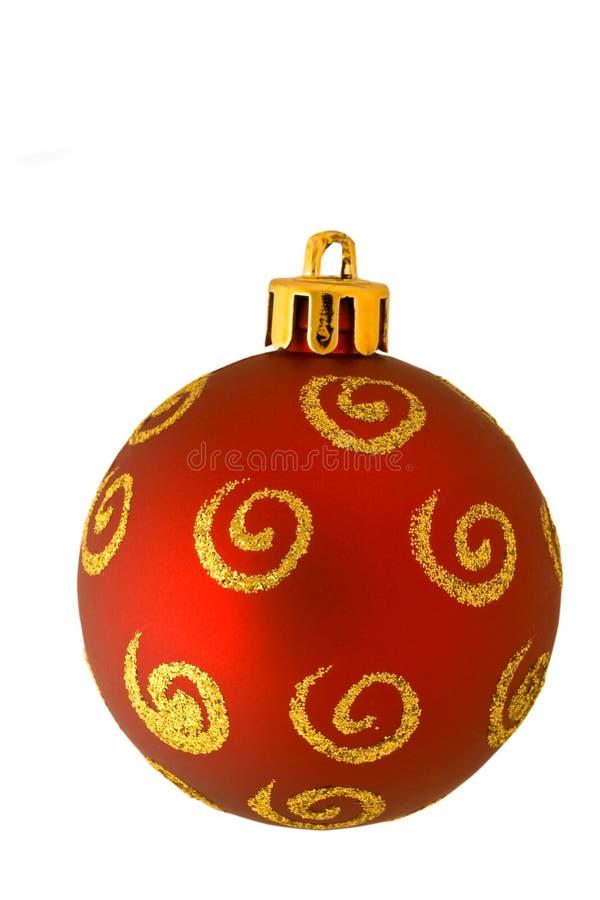 красный цвет орнамента рождества золотистый изолированный стоковые фото