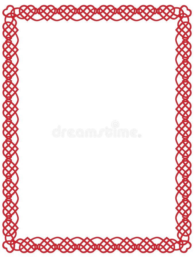 красный цвет орнамента сердца граници кельтский иллюстрация штока