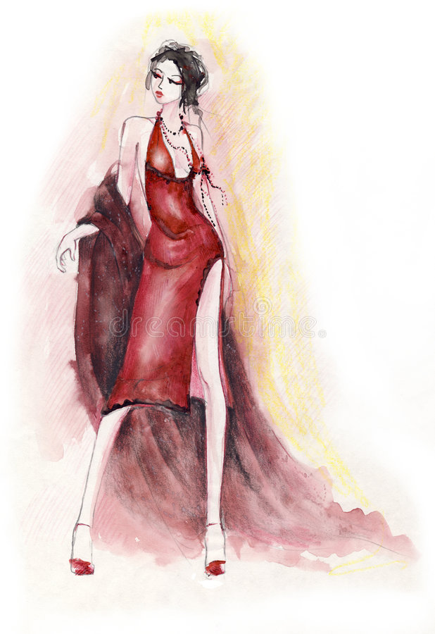 красный цвет повелительницы платья бесплатная иллюстрация