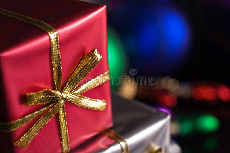 красный цвет подарка на рождество стоковое изображение