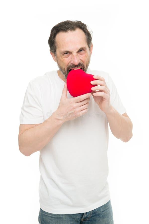 красный цвет поднял здоровье внимательности рукояток изолировало запаздывания Любовь Проблемы с сердцем человек бороды Декоративн стоковая фотография