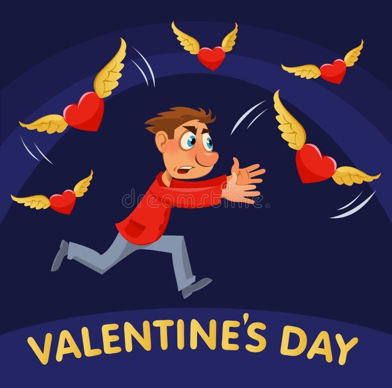 красный цвет поднял Человек шаржа пробуя уловить сердца летания иллюстрация штока