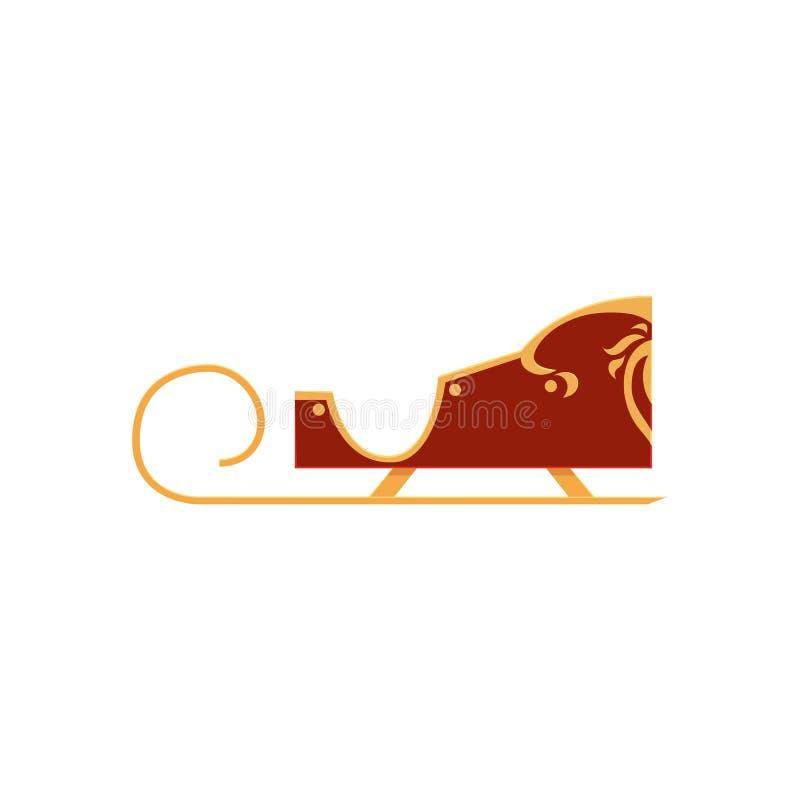 Красный цвет покрасил украшенные сани Санты, значок рождества иллюстрация вектора