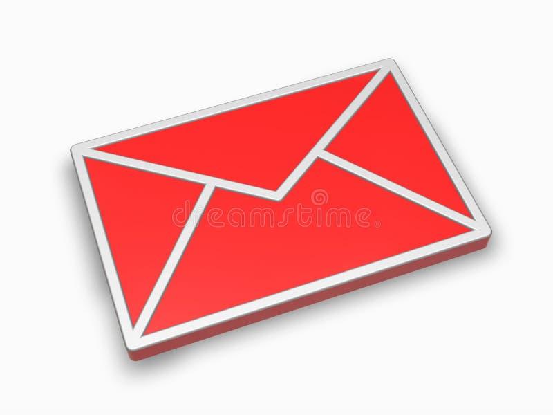 красный цвет почты иконы 3d иллюстрация штока