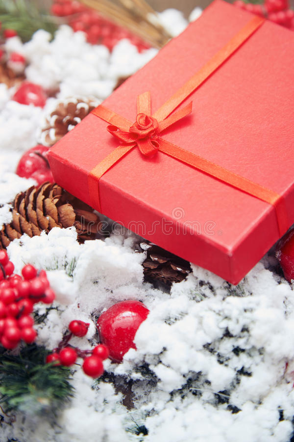красный цвет подарка рождества коробки стоковые изображения rf