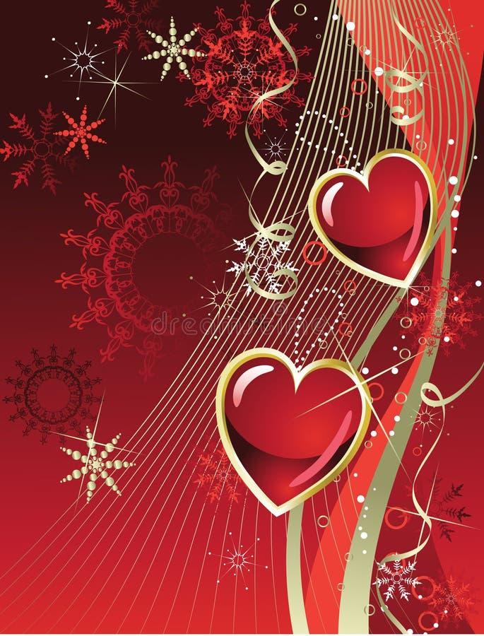 красный цвет праздника сердца золота иллюстрация штока