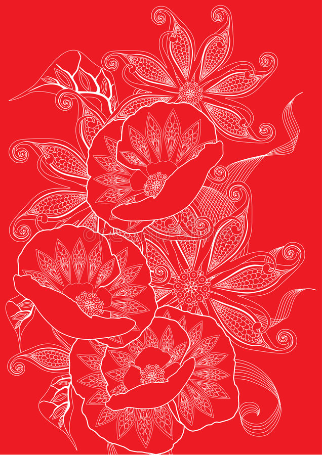 красный цвет предпосылки флористический иллюстрация вектора