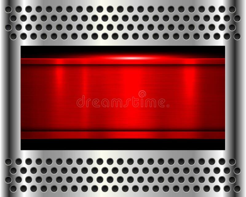 Красный цвет предпосылки металла иллюстрация вектора