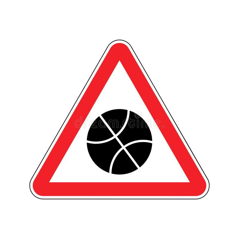 Красный цвет предупредительного знака баскетбола символ внимания опасности игры Dange иллюстрация вектора