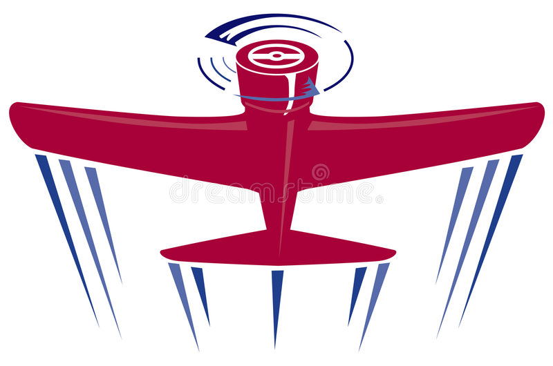 красный цвет пропеллера самолета иллюстрация вектора