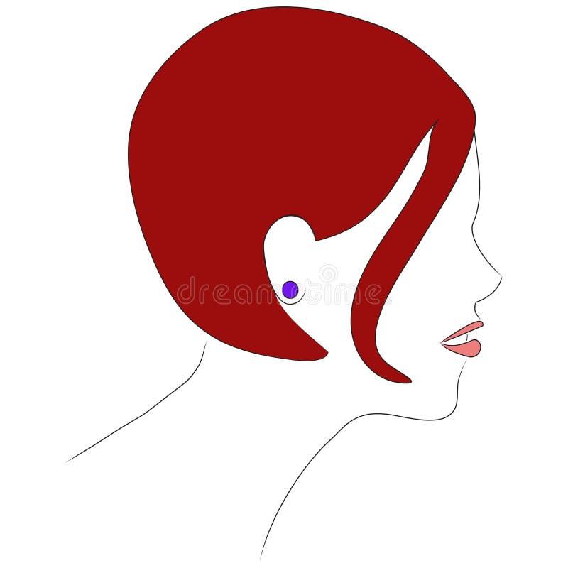 красный цвет профиля волос девушки стоковые фотографии rf