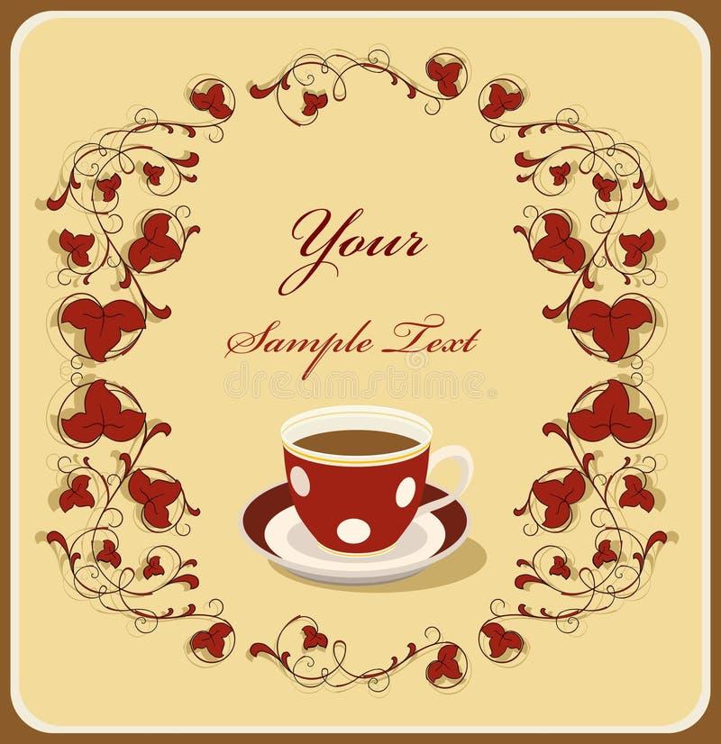 красный цвет рамки кофейной чашки flral бесплатная иллюстрация