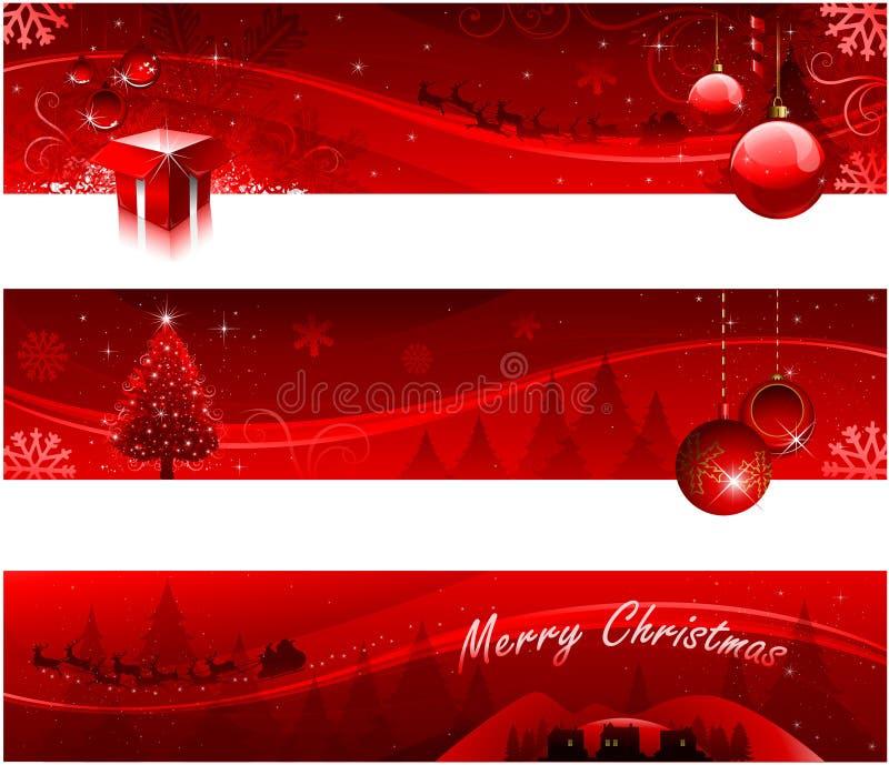 красный цвет рождества знамен иллюстрация вектора