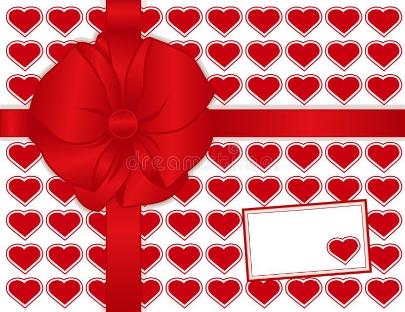 красный цвет сердец подарка карточки присутствующий иллюстрация вектора
