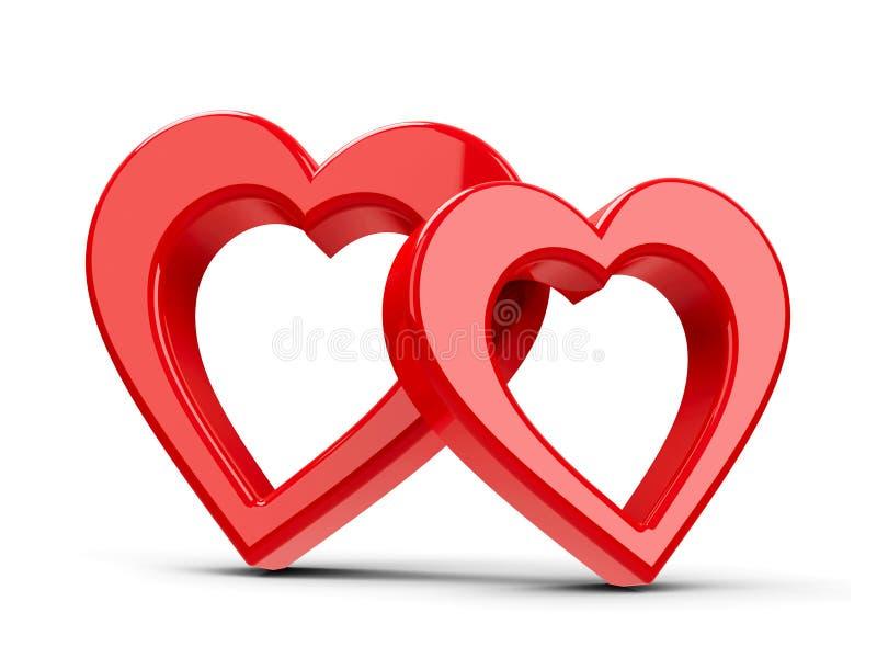 красный цвет 2 сердец иллюстрация штока