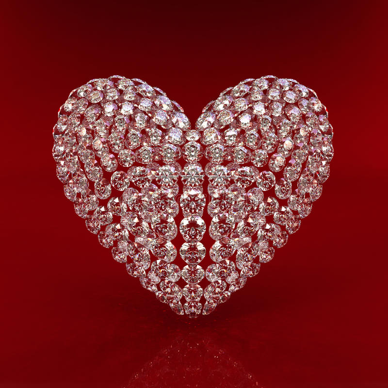 красный цвет сердца диаманта предпосылки иллюстрация вектора