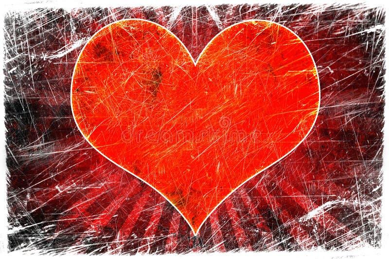 красный цвет сердца grunge иллюстрация вектора