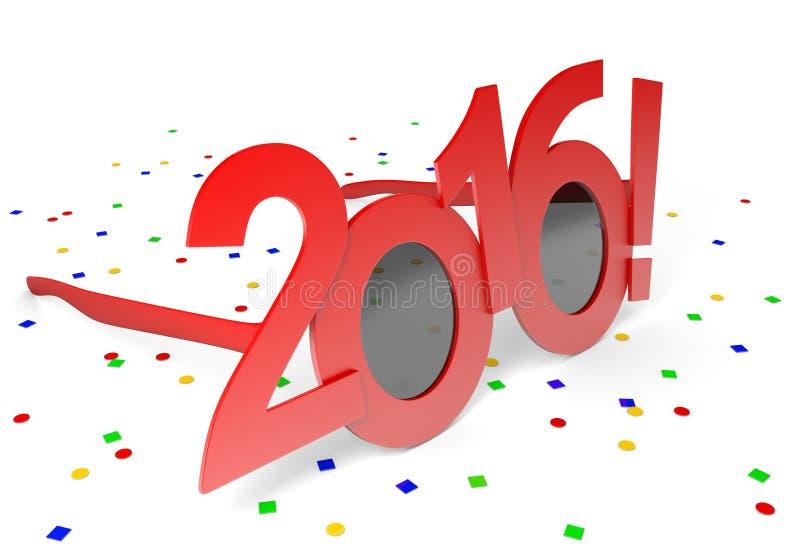 Красный цвет 2016 стекел для праздновать праздник Нового Года бесплатная иллюстрация