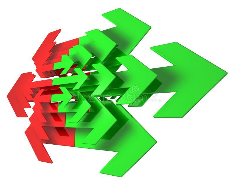 красный цвет стрелок зеленый иллюстрация штока