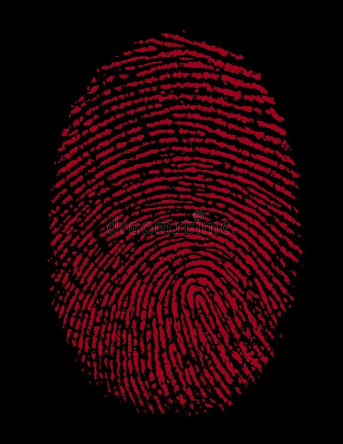 красный цвет тождественности фингерпринта злодеяния иллюстрация вектора