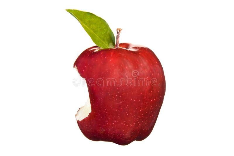 красный цвет укуса яблока стоковое изображение