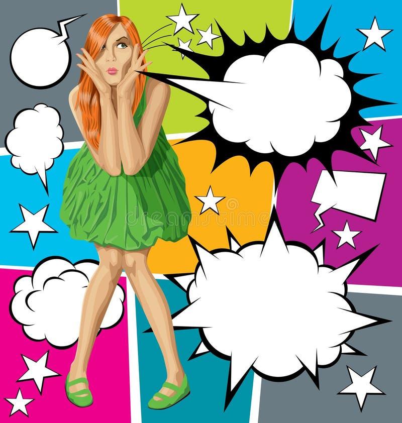 Красный цвет удивленный вектором в зеленом платье с комплектом пузыря речи бесплатная иллюстрация