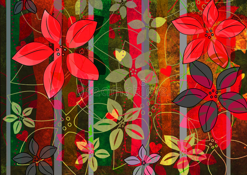 красный цвет цветков зеленый grungy бесплатная иллюстрация