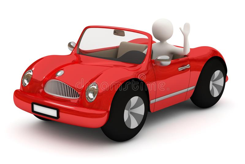 красный цвет человека автомобиля 3d идя иллюстрация штока