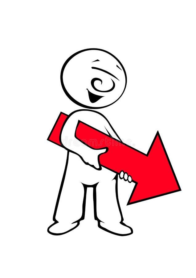 красный цвет человека стрелки шуточный иллюстрация штока