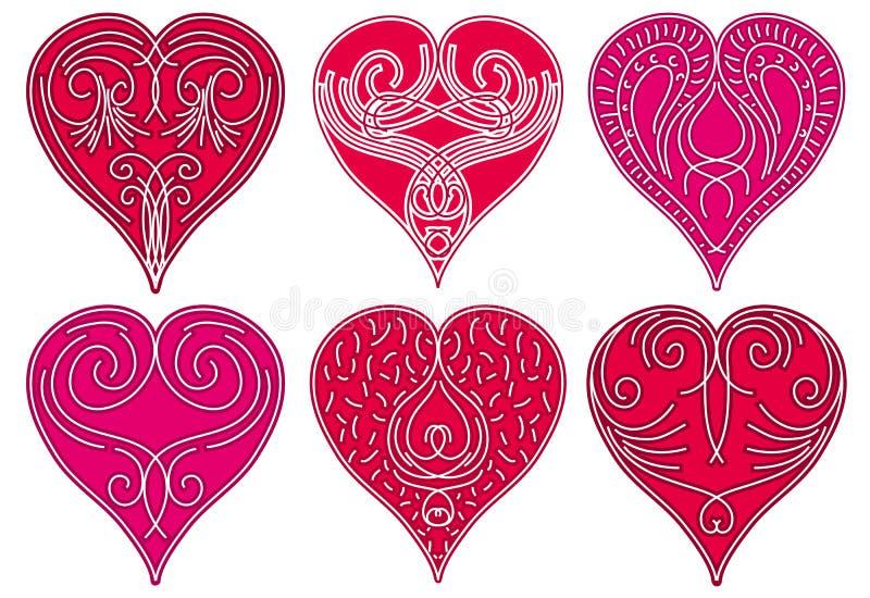 красный цвет 6 сердца иллюстрация вектора