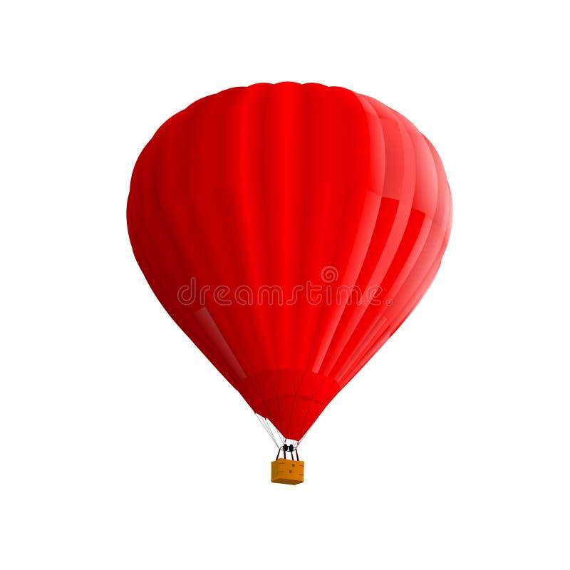 красный цвет ballon воздуха горячий изолированный иллюстрация вектора