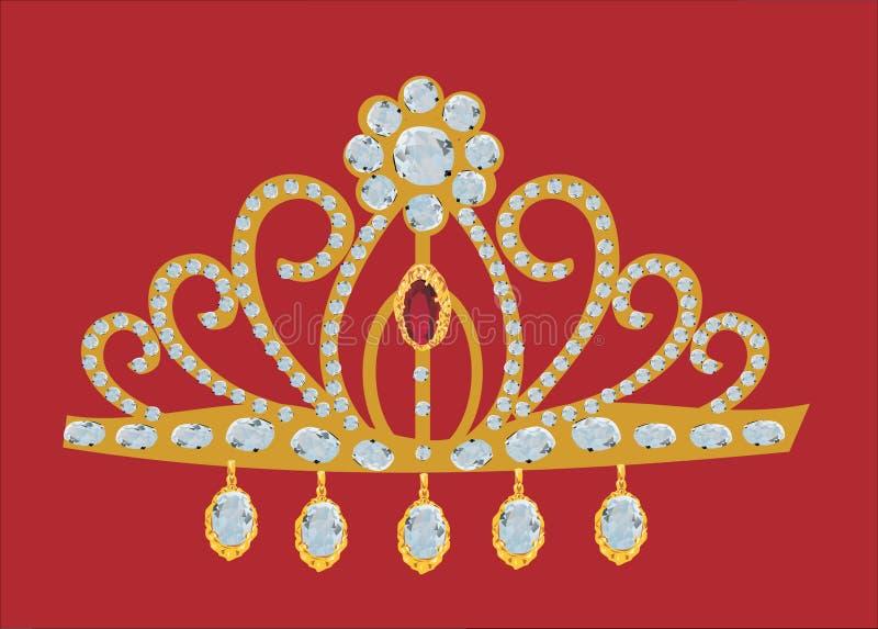 красный цвет diadem изолированный золотом бесплатная иллюстрация