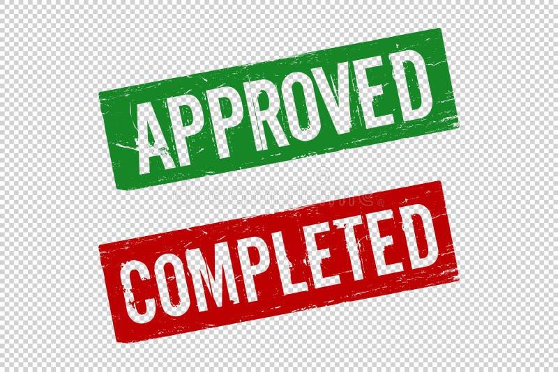 Красный цвет Grunge завершил и одобрил квадратную резиновую печать уплотнения иллюстрация штока
