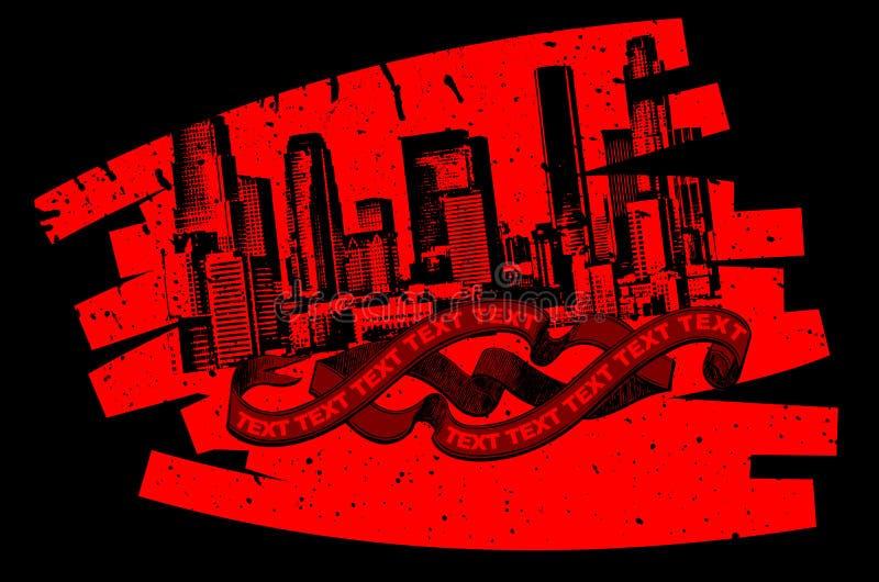 красный цвет grunge надписи на стенах знамени черный иллюстрация вектора