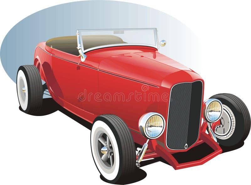 красный цвет hotrod иллюстрация вектора