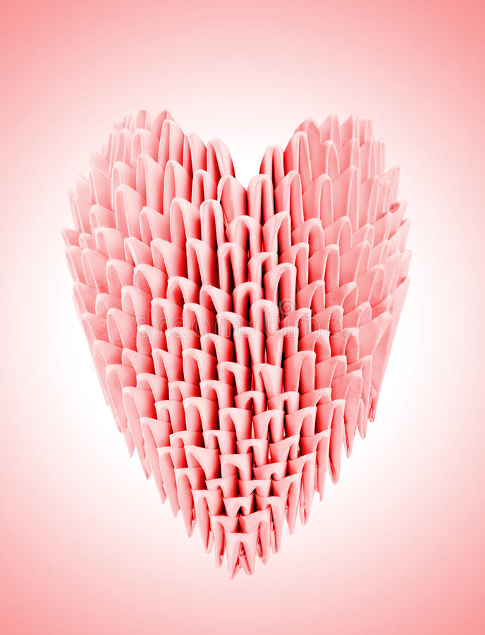 красный цвет origami сердца стоковые изображения
