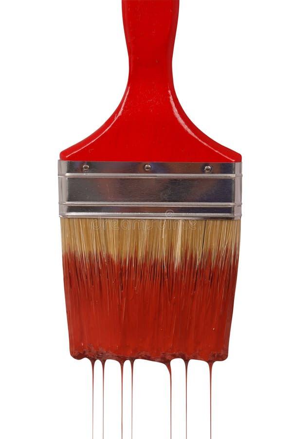 красный цвет paintbrush краски капания стоковая фотография rf