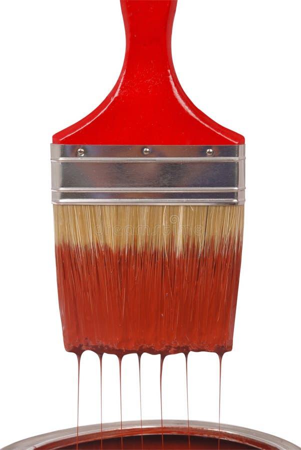 красный цвет paintbrush краски капания стоковые фото