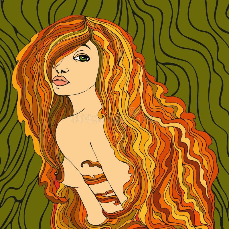 красный цвет portret девушки с волосами иллюстрация штока