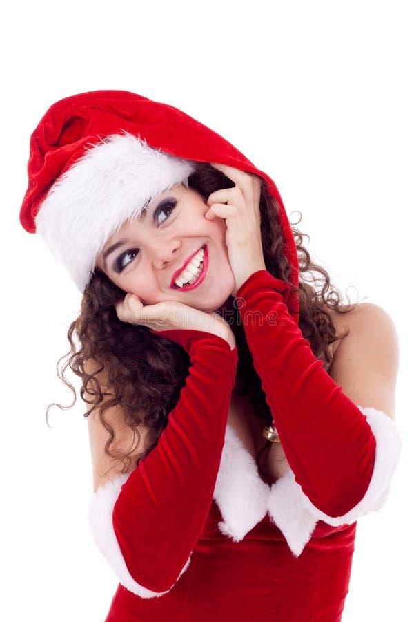 красный цвет santa шлема девушки платья стоковое изображение rf