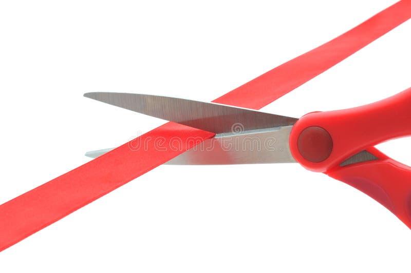красный цвет scissor лента стоковые фотографии rf