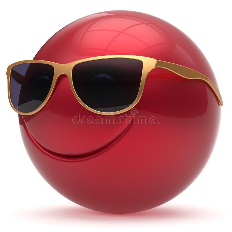 Красный цвет smiley шаржа смайлика сферы шарика головы стороны улыбки счастливый иллюстрация штока