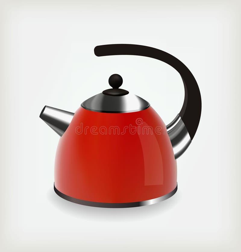 Красный чайник иллюстрация штока