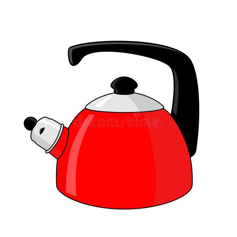 Красный чайник иллюстрация вектора