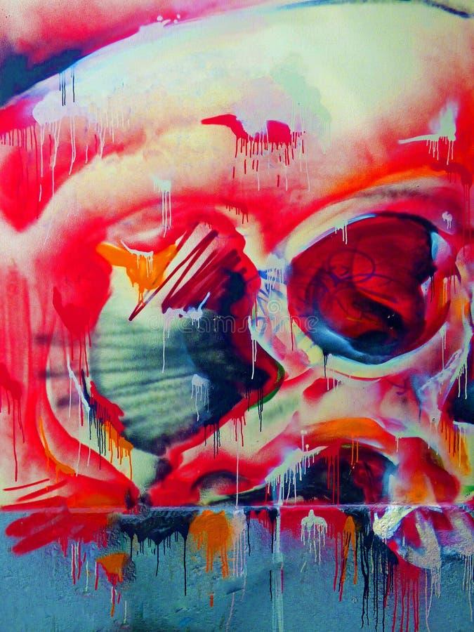 Красный череп - искусство улицы Валенсия стоковое изображение rf