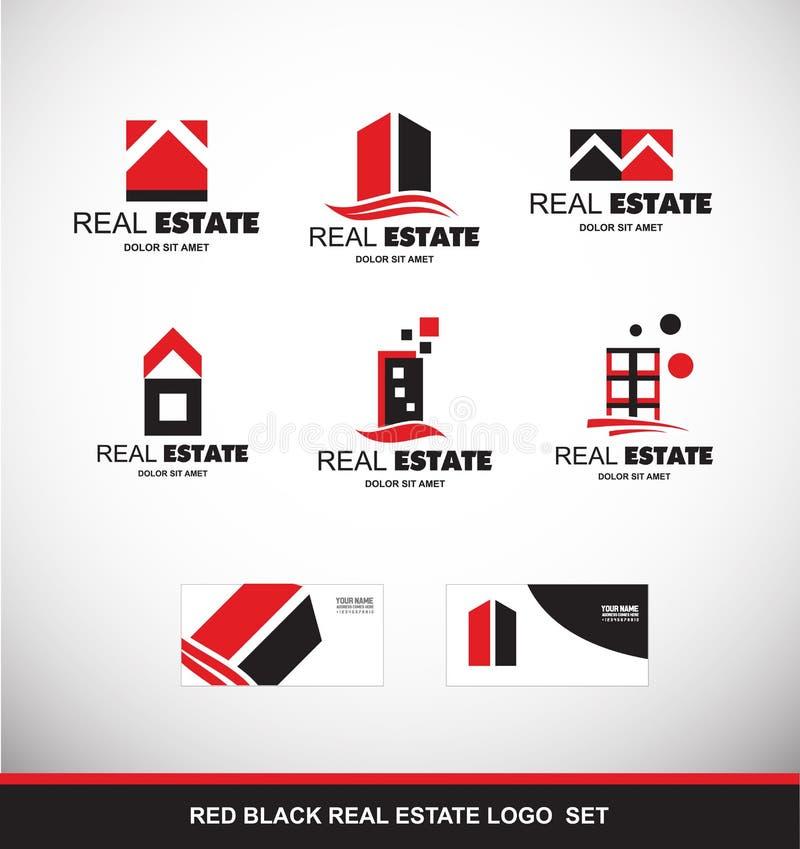 Красный черный комплект значка логотипа недвижимости иллюстрация вектора