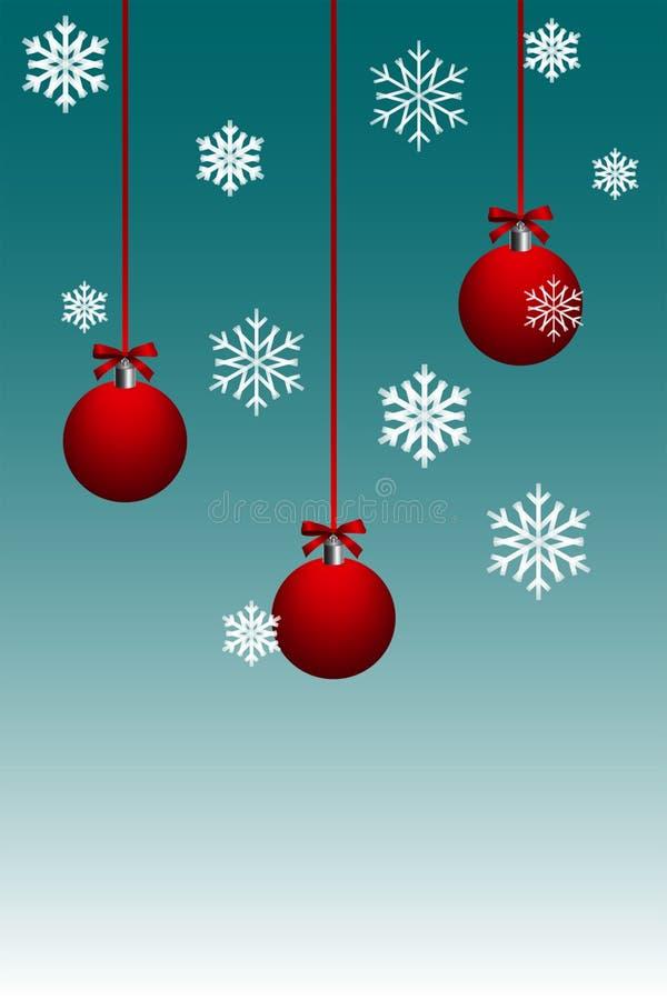 Красный шарик рождества со снежинкой на салатовой предпосылке цвета иллюстрация вектора