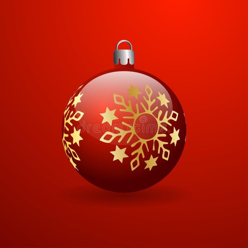 Красный шарик рождества с золотой снежинкой Красная предпосылка с градиентом бесплатная иллюстрация